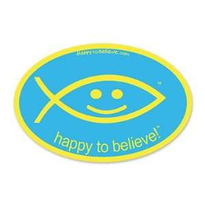 Happy to Believe Christian Fish Euro Sticker (Fun) Automotive