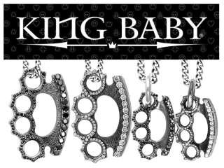 King Baby Studios BRASS KNUCKLES cz Pendant Necklace