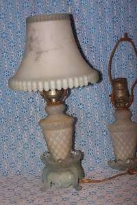 Antique Two Art Deco Blue Glass Dresser Lamp Light