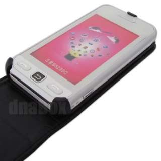 Leather Case Pouch Cover Skin + Film For Samsung S5230 Star l_Black
