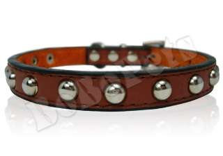 Studded leather Pet Dog Collar black blue brown S M L