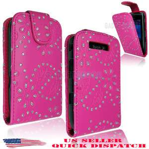 FOR BLACKBERRY TORCH 9800 BLING DIAMOND PINK LEATHER FLIP CASE COVER