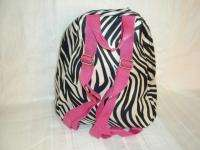 NEW TRENDY ZEBRA PRINT BACKPACK,DAYPACK, PINK TRIM,SCHOOL,TRAVEL
