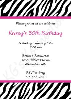 ZEBRA PRINT Birthday Baby Bridal Shower Invitations