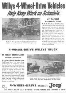 1954 Willys Pickup Truck & Jeep CJ 3 Original Ad