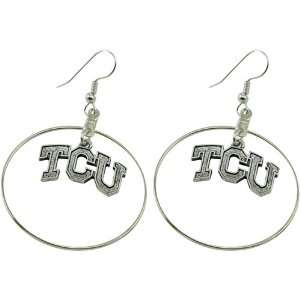 Texas Christian Horned Frogs (TCU) Silver Charm Hoop