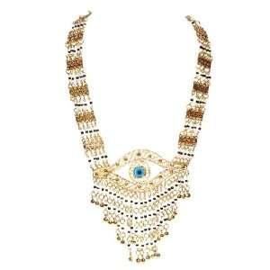 Handmade White/Black Beaded Pendant Necklace, Blue Eye Jewelry