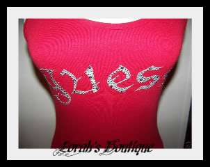 NWT GUESS RED SILVER LOGO STUD TANK TOP S, M, L