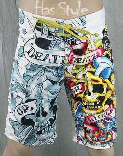Ed Hardy White Death or Glory Board Shorts Trunks