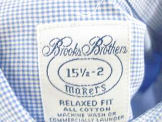 BROOKS BROTHERS Mens Blue White Checkered Shirt Size L