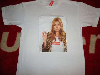 SUPREME 2012 S/S KATE MOSS BOX LOGO TEE SHIRT WHITE SAFARI DONEGAL
