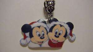 Disney Mickey Minnie Mouse Santa hat Christmas Pendant