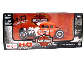 FORD MODEL A HARLEY DAVIDSON WHITE / ORANGE 1/24 DIECAST CAR