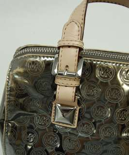 Michael Kors MK Metallics Silver Small Monogram Mirror Grayson Satchel