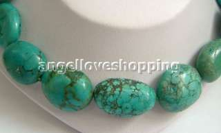 oval blue natural Old turquoise beads necklace sterling silver clasp