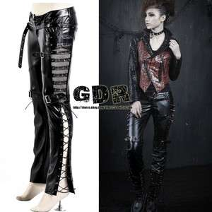 PUNK VISUAL KEI BLACK STUB SLIM ZIP UP K131 SHAPE STUB PANTS S 2XL
