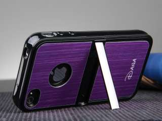 Purple Aluminum TPU Hard Case Cover W/Chrome Stand F iPhone 4 4G 4S