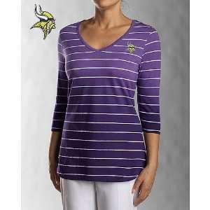 Cutter & Buck Minnesota Vikings Womens 3/4 Sleeve Goal Line T Shirt