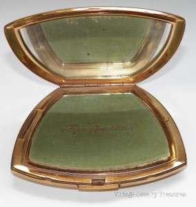 Vintage Elgin American Gold Tone & Enamel Compact Floral Design