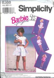 / Child Matching Mattel Barbie Doll Clothes Sewing Pattern