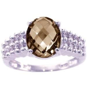 14K White Gold Oval Gemstone Beaded Ring Smoky Quartz/Briolette, size5