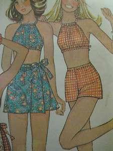 McCalls 4055 DRAWSTRING HALTER TOP WRAP SKIRT Sewing Pattern Women
