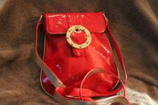BIG BUDDHA Red Patent Leather Gold Buckle Cross Body Messenger Bag