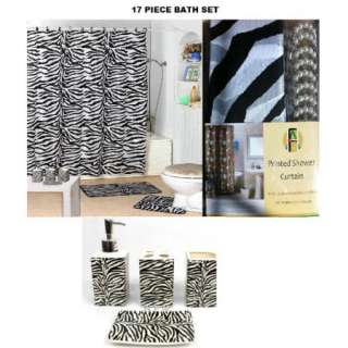 17 piece Bath Accessory Set Black zebra print shower curtain Bathroom