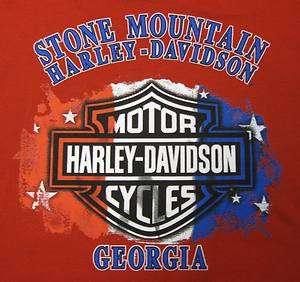 STONE MOUNTAIN HD HARLEY DAVIDSON MENS CUSTOM DEALER TEE PATRIOTIC BAR