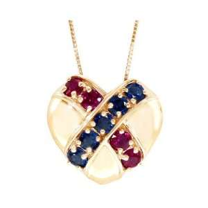 14K Yellow Gold Crossover Heart Pendant Multi Ruby Blue