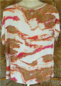 Calvin Klein Jeans Multi Color Abstract Print V Neck Top Plus Size 2X