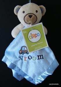 New Circo Tan Bear Vroom Car Light Blue Baby Lovey Security Blanket