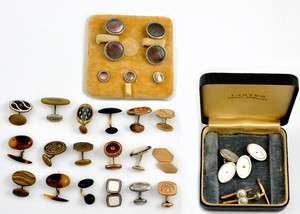 of 22 Cufflinks & 6 Studs 2 Matching Sets MOP Abalone Shell