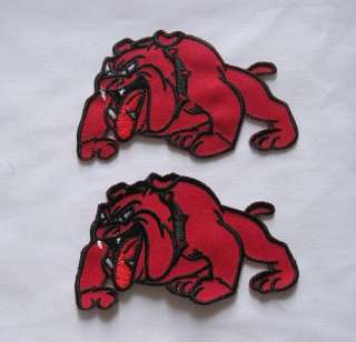RED PITBULL DOG EMBROIDERED EASY IRON ON PATCH