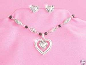 Silver & Black Beaded Heart Necklace Set