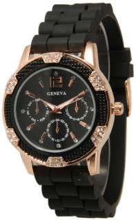 NEW Black/ Rose Gold Geneva SILICONE RUBBER Chronograph Designer WATCH