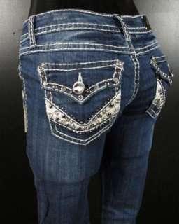 NWT Womens LA IDOL Bootcut Jeans HUGE CRYSTALS & STUDS 1049LP