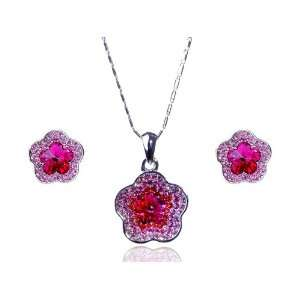 Pink Hippie Flower 925 Silver Swarovski Crystal Rhinestone
