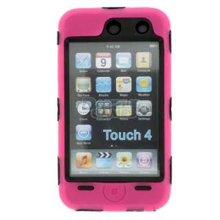 HOT PINK 3PIECE HARD CASE COVER SKIN FOR IPOD TOUCH 4 4G NEW