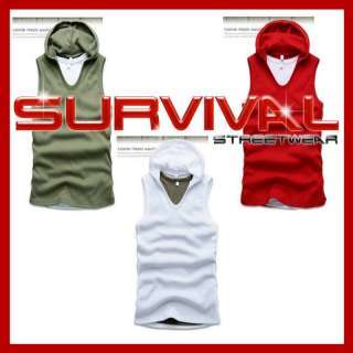 NEW MENS SINGLET TANK TOP SLEEVELESS HOODIE SHIRT KHAKI, RED & WHITE