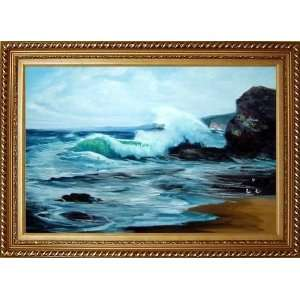 Waves and Seagulls Seascape Scene Oil Painting, with Exquisite Dark