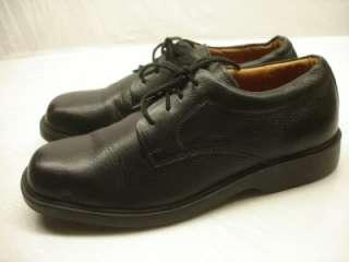 MENS CLARKS TRAVEL SOFT Black LEATHER OXFORD DRESS SHOES sz 10 M lace