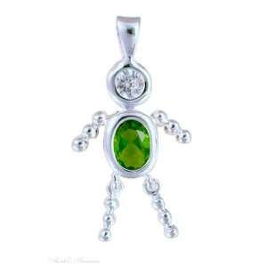 Sterling Silver August Birthstone Babies Boy Child Pendant Jewelry