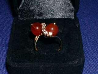 ANTIQUE YELLOW GOLD 14K DIAMOND CARNELIAN BYPASS RING