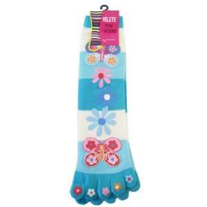 Yelete Toe Socks Aqua Stripes w/ Flowers   Toe Socks Toys & Games