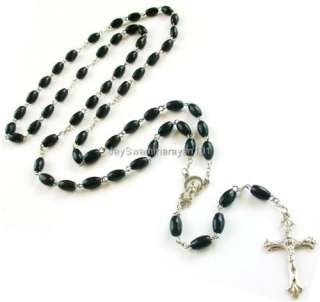 Black Wooden Rosary Beads Mens Necklace Cross 35 Long