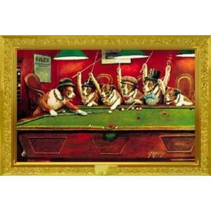 Coolidge Dogs Playing Pool College Humour Poster 24 x 36