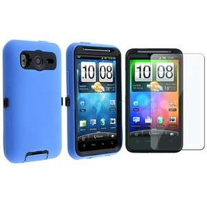 Black/Blue Double Layer Hybrid Case Cover+Protector For HTC Inspire 4G