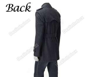 2011 Men Korea Slim Classic Double Breasted Wool Coat Jacket M L XL
