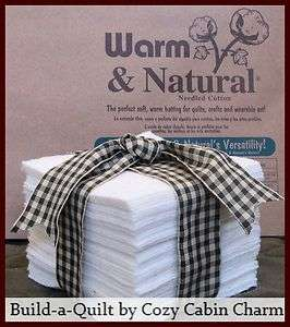 Warm & Natural Rag Quilt Cotton Batting Squares ~ Die Cut